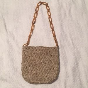 Handbags - Carrie Forbes Tan Crochet Shoulder Bag